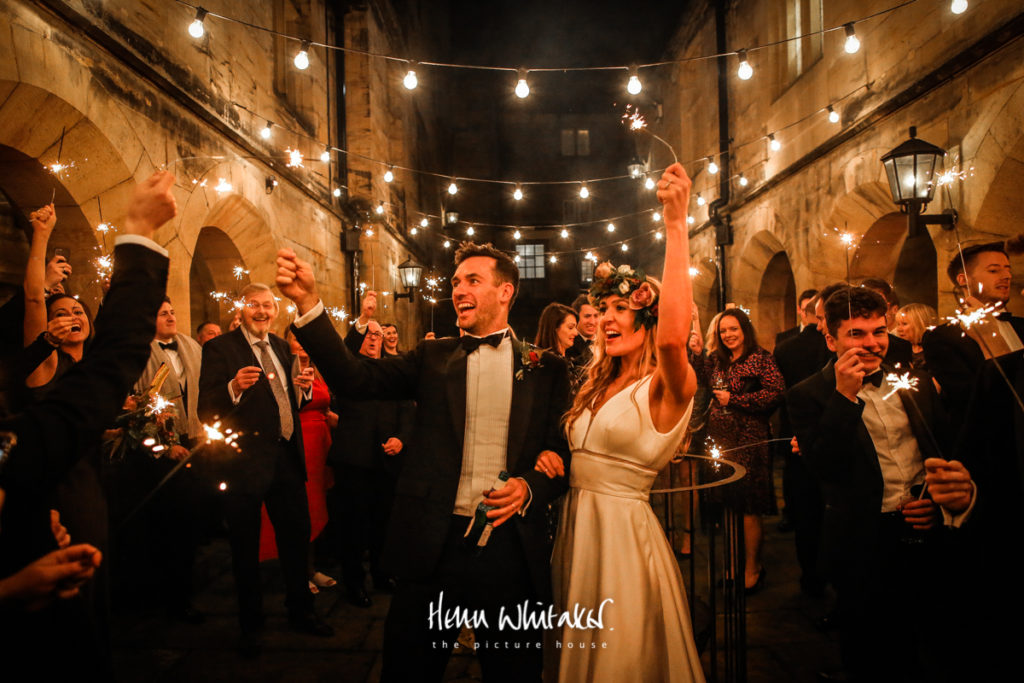 Documentary wedding photographer Matfen Hall Northumberland sparklers