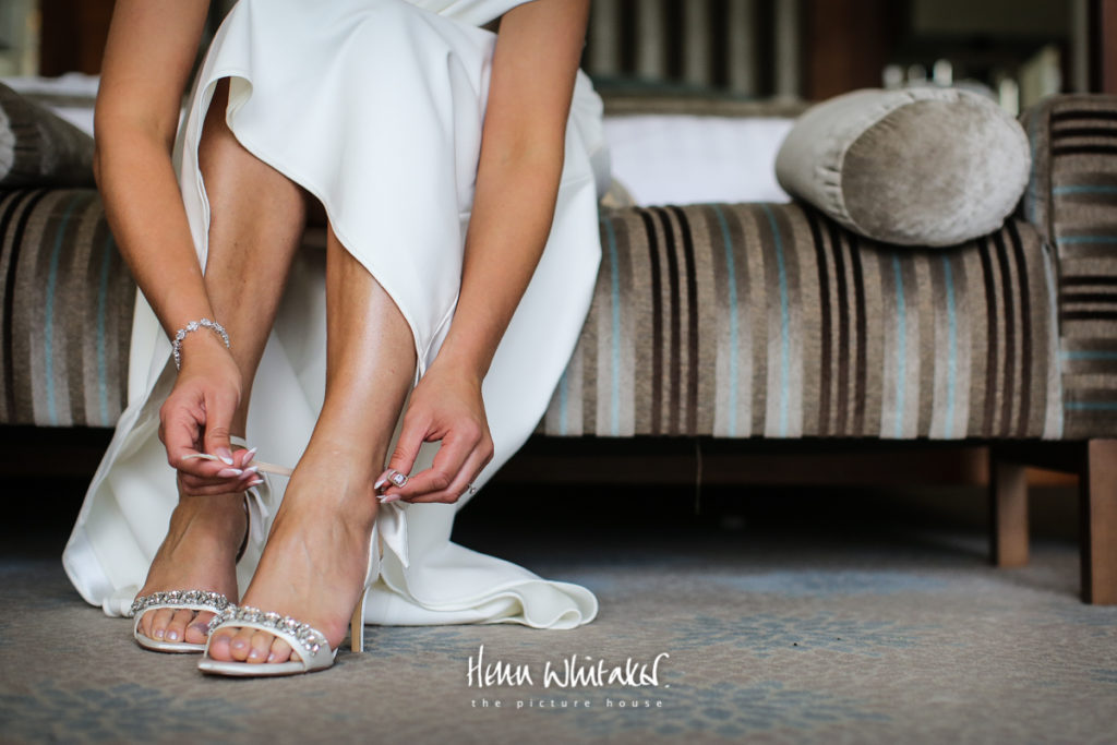 Documentary wedding photographer bridal shoes Lake District