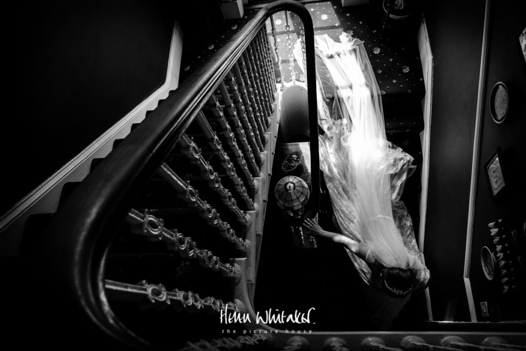 Documentary wedding photographer Cumbria the stairs