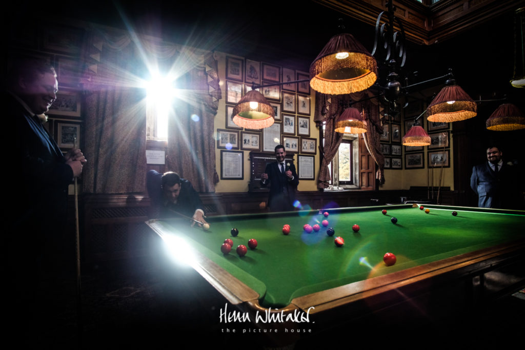 Documentary wedding photographer Armathwaite Hall Lake District billiards room