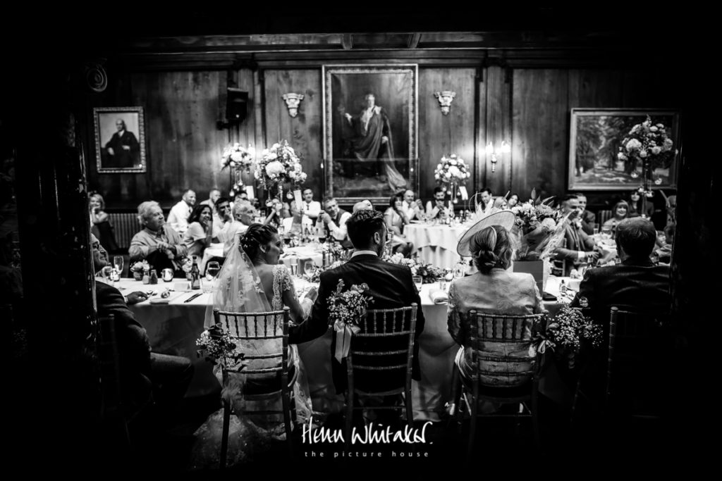 Documentary wedding photographer Thornton Manor Cheshire top table