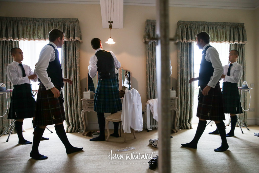 Springkell wedding photographer grooms getting ready