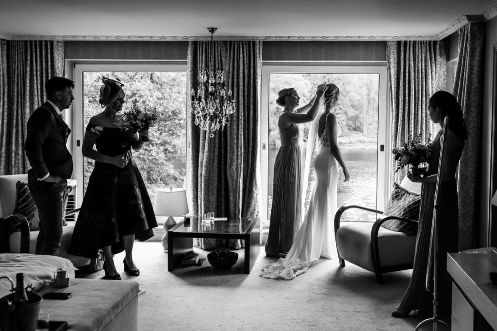 lake district documentary wedding photographer Gilpin Lake House bridal preparations in black & white
