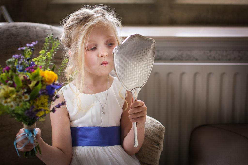 lake district documentary wedding photographer Cragwood flowergirl