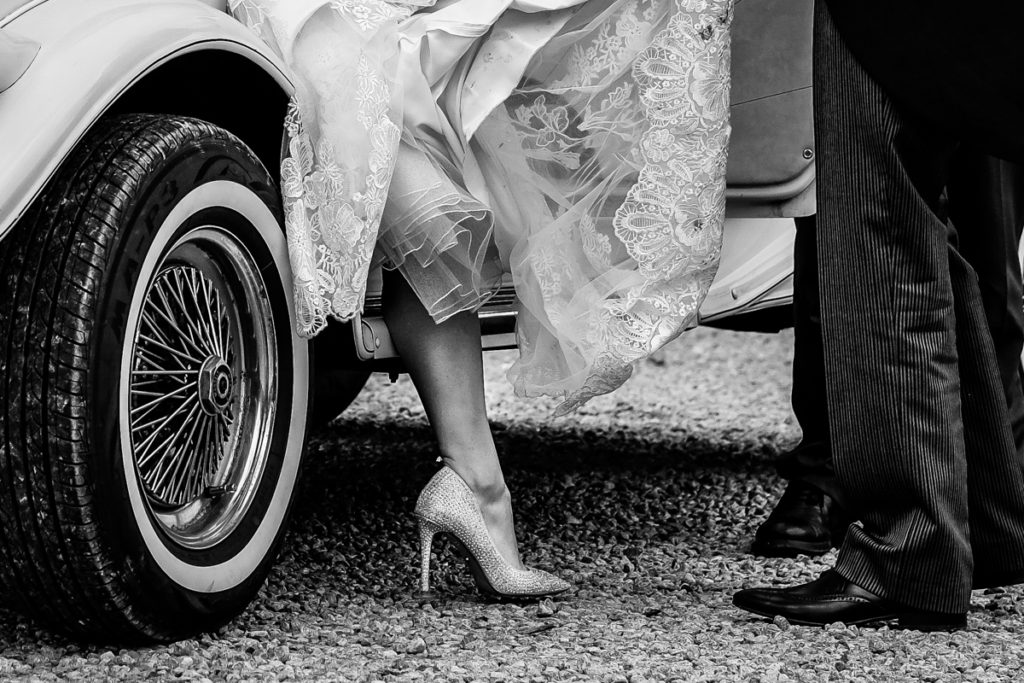 lake district documentary wedding photographer New House Farm brides shoe in black & white