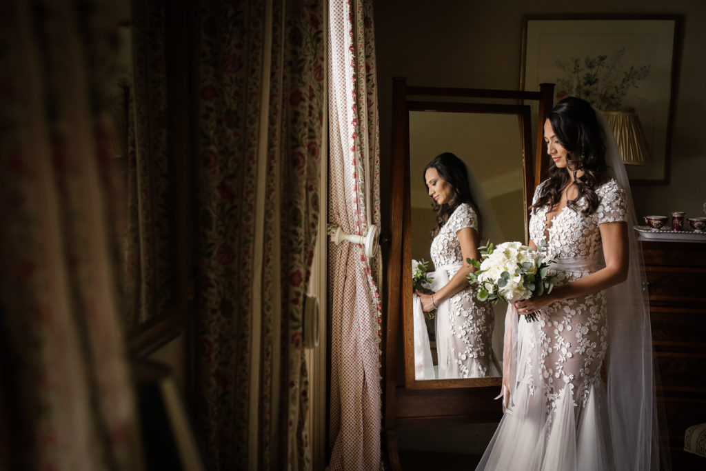 scottish documentary wedding photographer Dundas Castle bridal portrait in the mirror