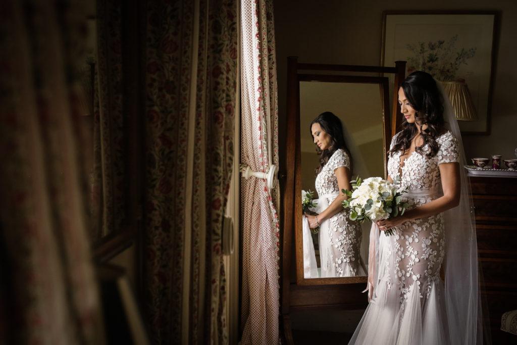 scottish documentary wedding photographer Dundas Castle bridal portrait in the mirror