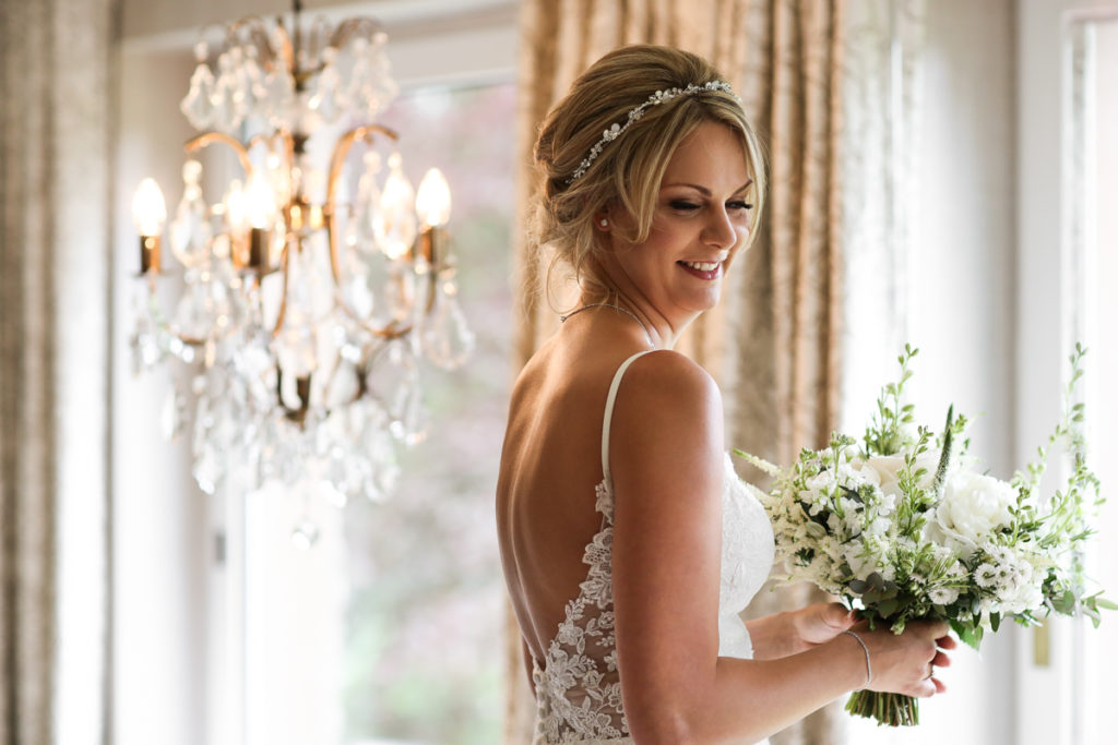 lake district documentary wedding photographer Gilpin Lake House bridal portrait in colour