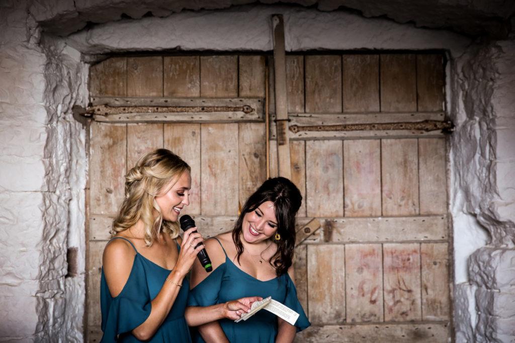lake district documentary wedding photographer Askham Hall bridesmaids speeches