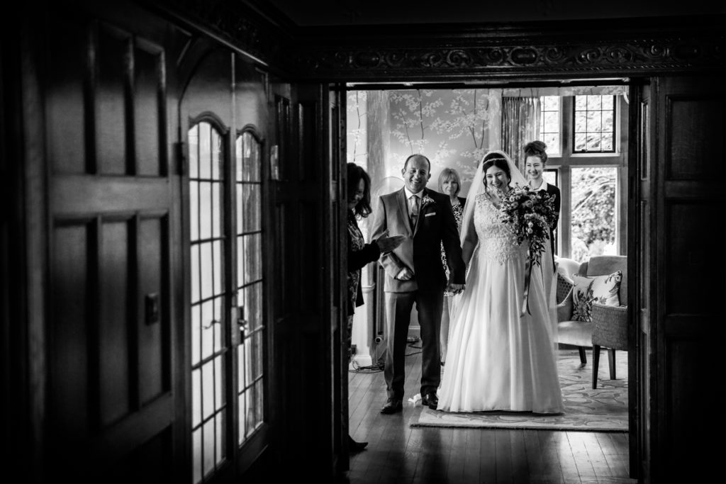 lake district documentary wedding photographer Cragwood couple just married in black and white