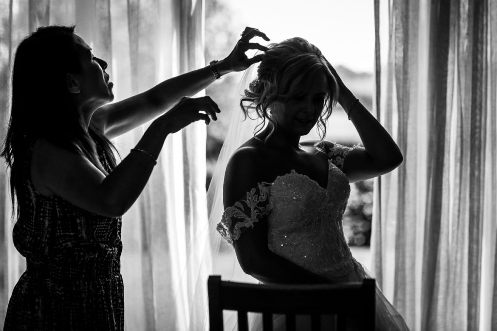 lake district documentary wedding photographer bridal prep black and white silhouette