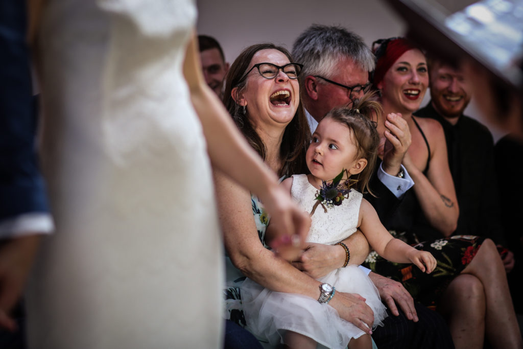 lake district documentary wedding photographer laughing guests