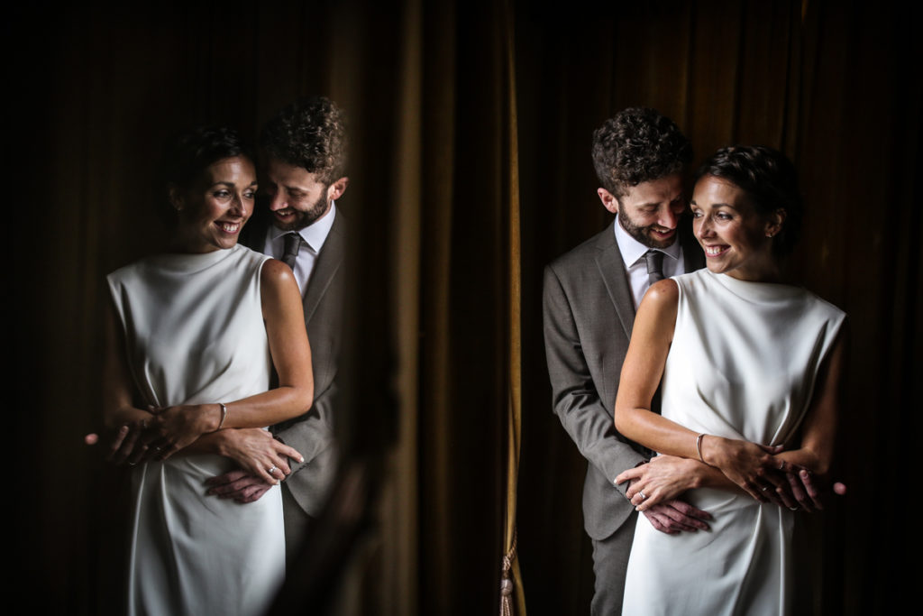 lake district documentary wedding photographer Rowley Estates couple portrait with reflection