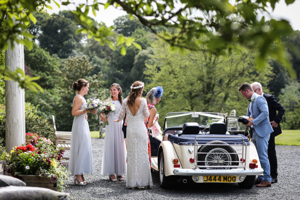 lake district documentary wedding photographer Lowhouse arrival of the bride in Morgan car