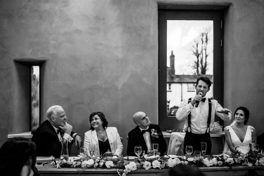 lake district documentary wedding photographer Longlands speeches in black and white