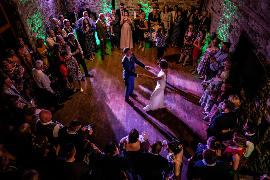 Knipe Hall couple's first dance in the barn