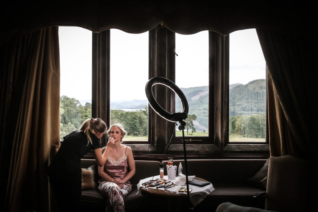 lake district documentary wedding photographer brides makeup with a view