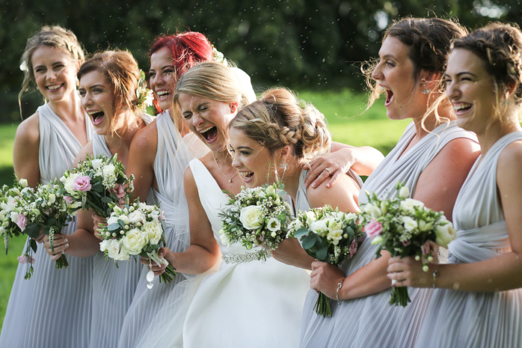 lake district documentary wedding photographer bridesmaids laughing