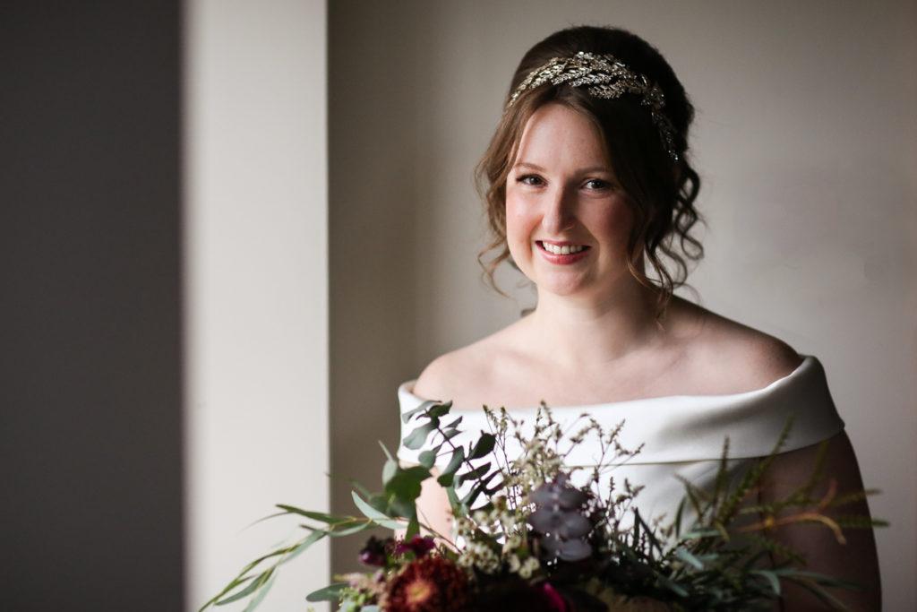 lake district documentary wedding photographer autumnal bridal portrait