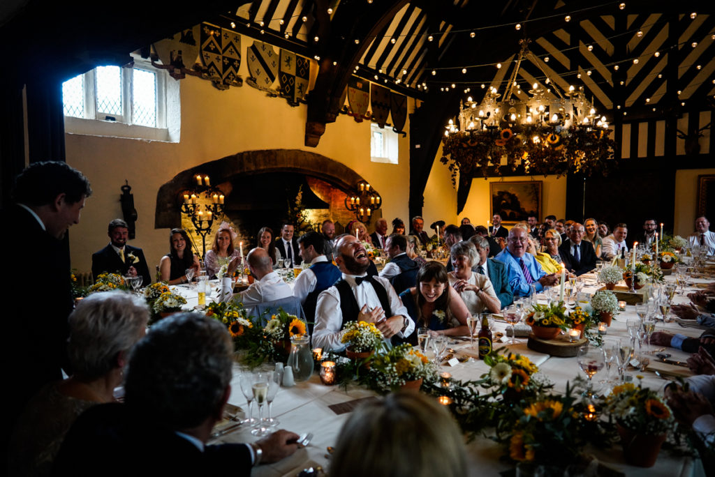 lake district documentary wedding photographer Samlesbury Hall speeches in colour