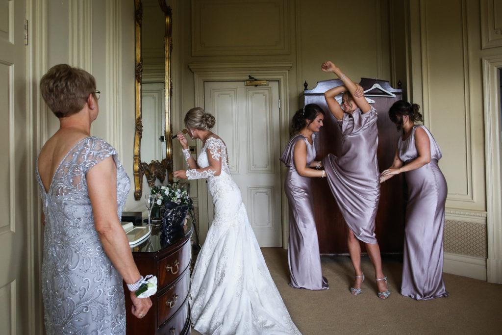 lake district documentary wedding photographer Merewood Hotel bridal prep