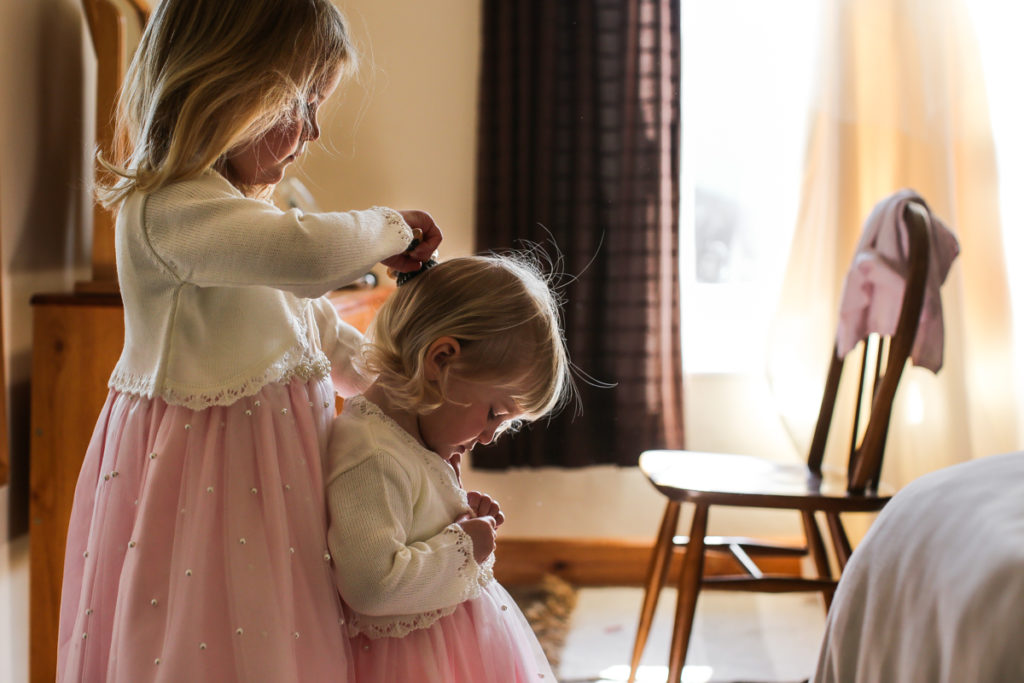 lake district documentary wedding photographer flower girls getting ready