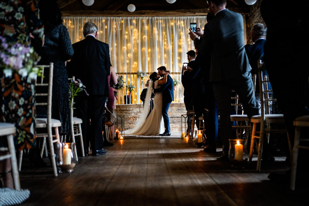 lake district documentary wedding photographer Askham Hall just married kiss