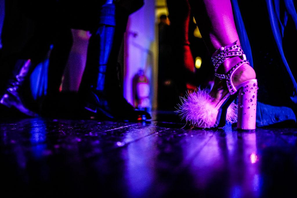 lake district documentary wedding photographer Belmount Hall shoes on the dance floor