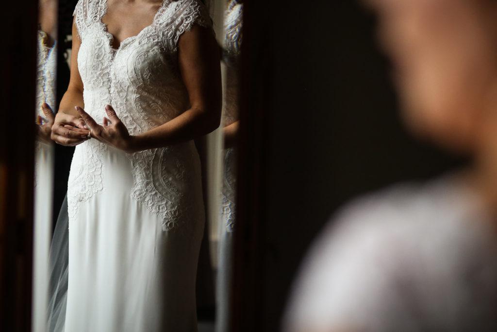 lake district documentary wedding photographer brides hands in mirror