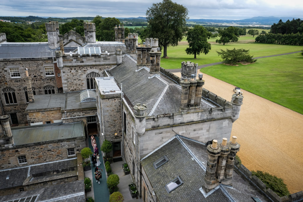 lake district documentary wedding photographer Dundas Castle roof top view