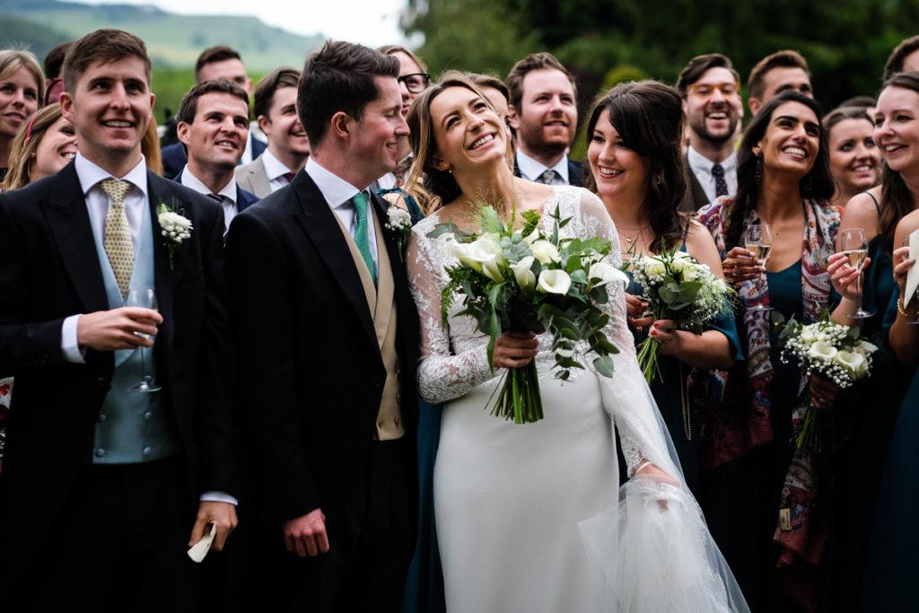 lake district documentary wedding photographer Askham Hall group shot