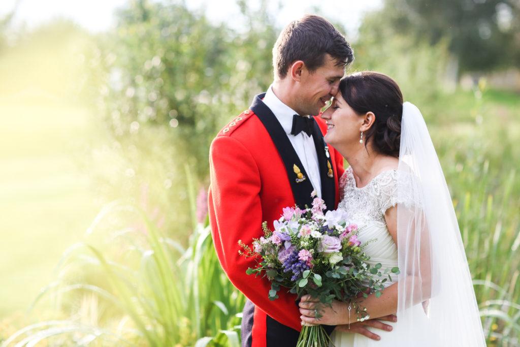 lake district documentary wedding photographer Garden at Eden military wedding couple portrait