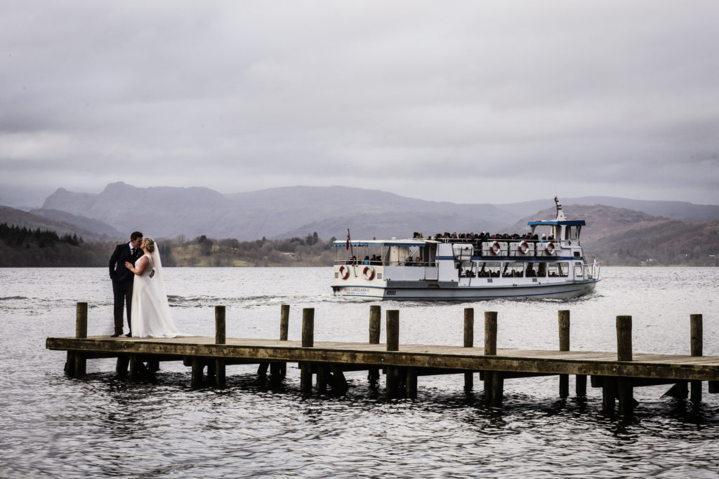 Lake District Wedding Photographer couple on jetty
